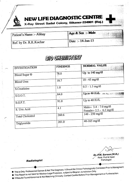 ABHAY-KUMAR-KAURA-40yrs-Echotexture-of-liver-parenchyma-increased-Fatty-Infiltration-In-Liver-patient-treatment-report-2