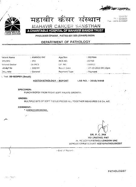 Anandu-rai-Cancer-Chronicle-Disease-Hazipur-Mouth-Cancer-Neck-Cancer-Oral-Cancer-Tongue-Cancer-patient-treatment-report-3