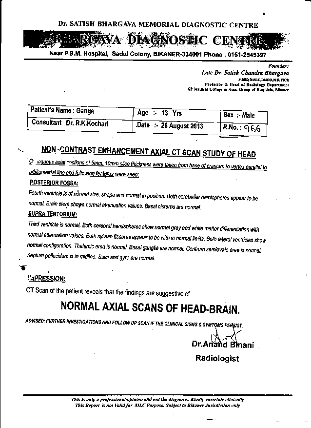 Ganga-Bhargava-13yrs- Brain-Abcess-patient-treatment-report-1