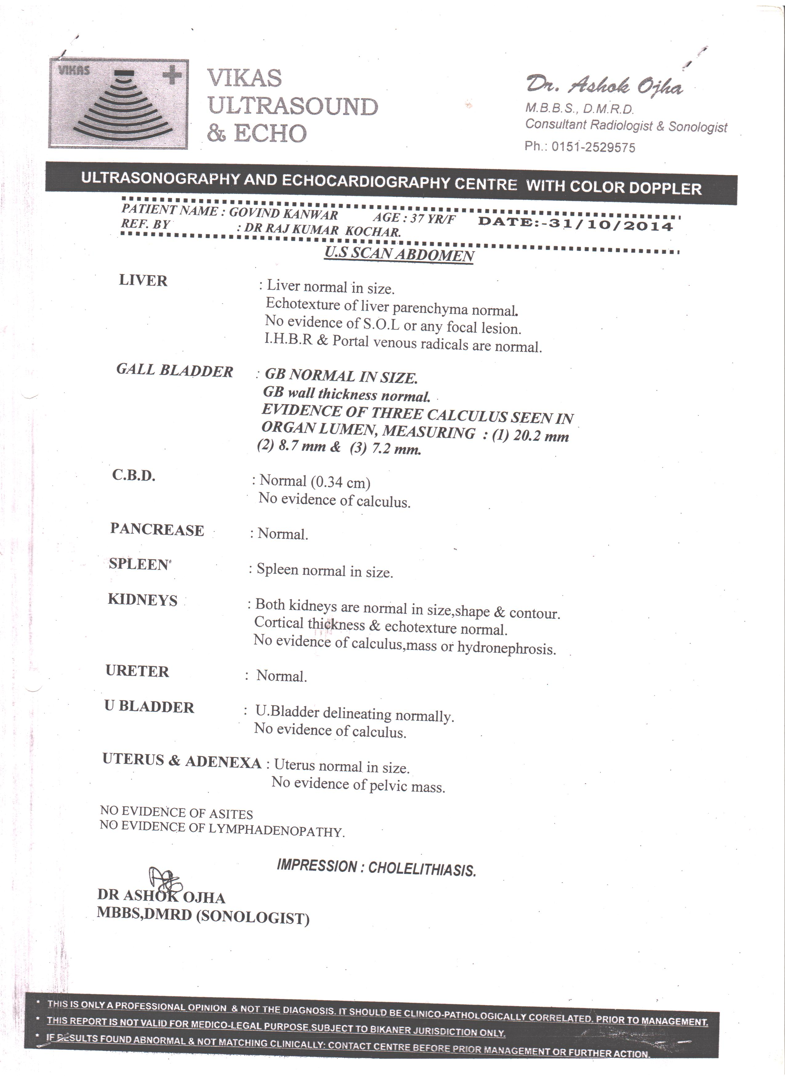 GOVIND-KANWAR-39-Years-Gall-Bladder-Stone-patient-treatment-report-1
